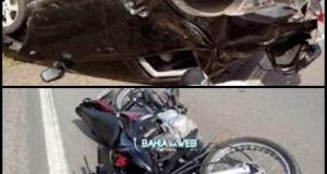Acidente entre moto e Corolla deixa um morto em Muniz Ferreira
